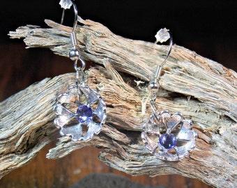 Swarovski flower design dangle earrings