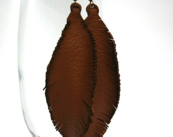 leather earrings original design gift for her genuine leather