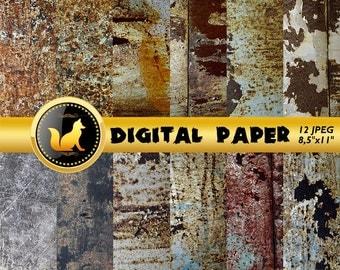 Rusty Metal Texture,Chipped Paint,Rusty Scrapbook Paper,Rusty Metal Paper,Сracky Rusty Background,Rusty Metal Backdrop,Old Metal Background