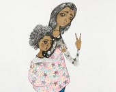 Custom made mama and baby illustrations