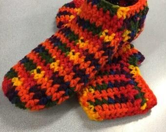 Multi color Women's Crochet Slippers/ Booties