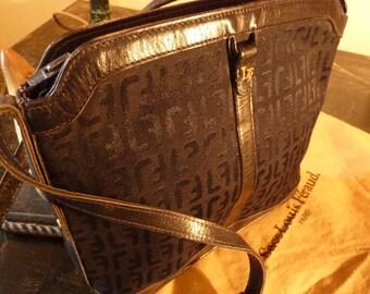LOUIS FERAUD Navy Canvas/Leather Shoulder Bag