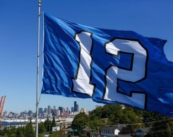 "DOUBLE-SIDED   Original Seattle Seahawks ""12"" Flag   3x5"
