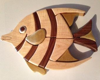 Wood Intarsia Angelfish