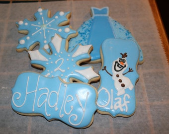 One dozen Frozen theme Cookies