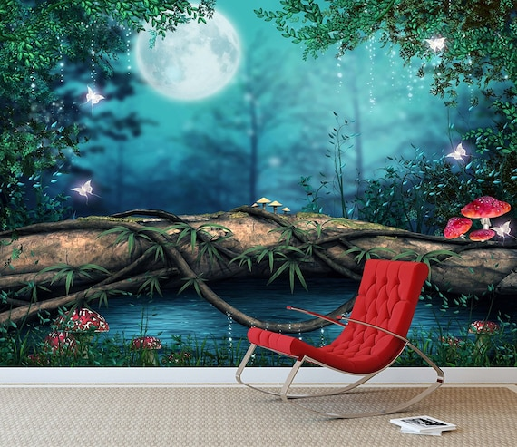 Items similar to fantasy enchanted fairy pond wall mural for Enchanted forest bedroom wall mural