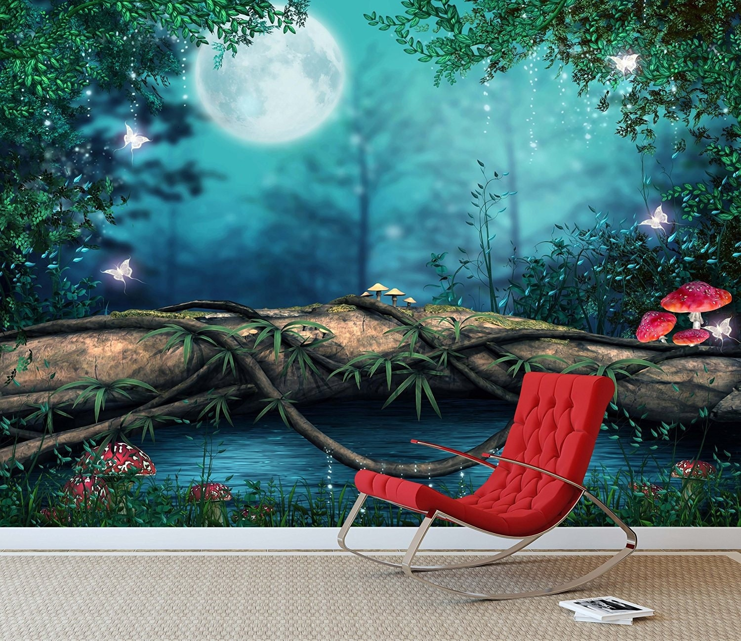 Fantasy enchanted fairy pond wall mural photo by for Fairy wall mural