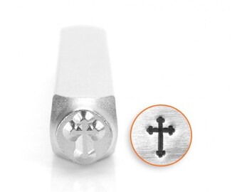 Spiritual Metal Stamps, Rounded Cross Design Stamp, 6mm Jewelry & Craft