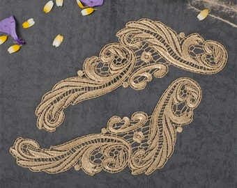 2 PCs Gold Lace Applique Embroidery Trim Appliques WL597