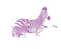 """Kids nursery room art Printable Zebra 8.5x11"""" playroom wall art, letter paper size, mother and baby, purple, pastel"""