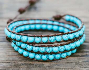 Leather wrap bracelet, Turquoise bracelet, Beadwork bracelet, Natural stone bracelet