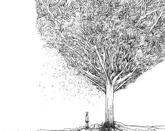 "Black and white illustration ""Tree of knowledge"""