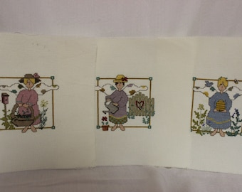 Finished Cross Stitch-3 Ladies in the Garden-Unframed-3 separate pictures