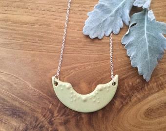 Pastel Green Ceramic Pendant Necklace