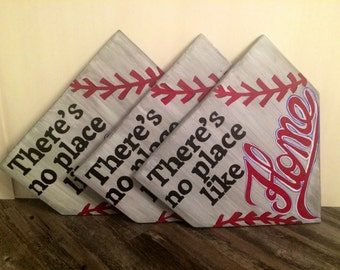 There's no place like home (baseball), rustic wood sign, handpainted