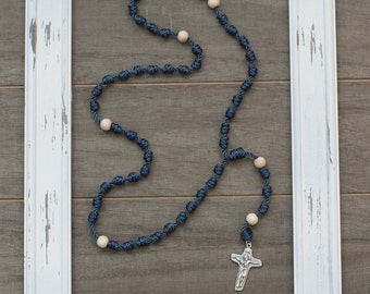 Navy Knotted Rosary - Catholic Rosary - Cord Rosary - Knot Rosary - Confirmation Gift - Catholic Gift - Rope Rosary - First Communion Gift