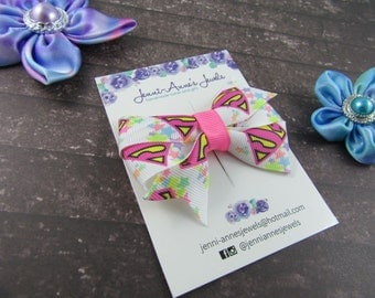 Pinwheel Hair Bow Clip - Superman /Super Girl