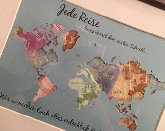 Individual gift idea * map * money gift to the wedding