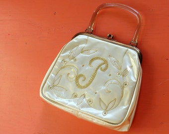 JR Julius Resnick purse, embroidered satin purse w/ plastic overlay, monogram letter P purse, cream white and gold purse, 1950s 1960s purse