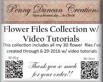 PDC 3D Flower Files Collection with Video Tutorials Through 6-29-2016