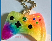 Rainbow Glittered Xbox Controller Necklace
