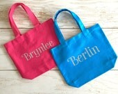 Girls Personalized Tote ~Girls Personalized bag ~ Custom Tote ~ Library Bag ~ Toddler Tote ~ Little Girl Tote ~ Flower Girl Tote ~ Small Bag