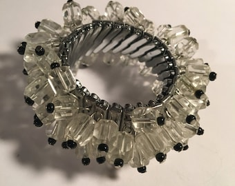 c1950 Vintage Crystal Expansion Cha Cha Bracelet Aurora Borealis Black and White