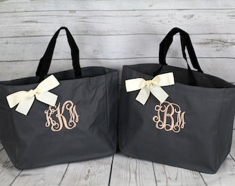 10 Bridesmaid Gift Personalized Tote Bags Monogrammed Tote, Bridesmaids Tote, Personalized Tote, Wedding Totes, Day of Wedding Bag, Wedding