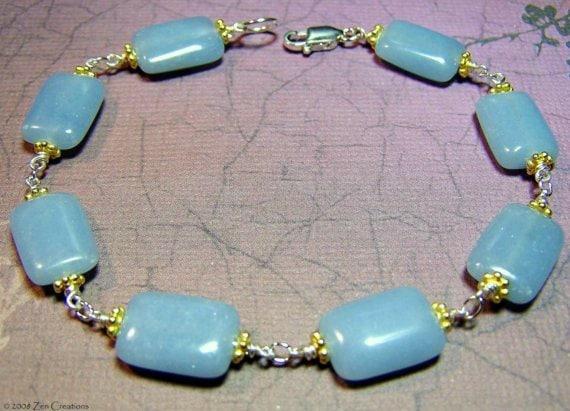 Angelite Gemstone Bracelet, Zen Jewelry, Gifts for Her, Yoga Bracelet, Clearance Jewelry, Meditation Jewelry,  Angelite Gemstone Jewelry