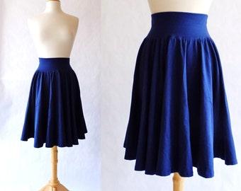 SALE Size MEDIUM Navy Full Circle Skirt Womens stretch Cotton Jersey Swing Skirt knee length twirl skirt stretch cotton skirt summer skirt