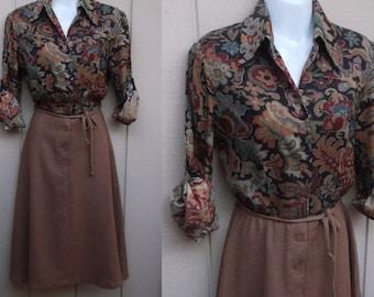 Vintage 70s Light Brown and Black SECRETARY DRESS // Ladies sz Sml - Med