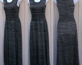 60s to 70s Vintage Black w/ Lurex Metallic Silver Maxi Dress / Minimalist Glam // Sz xs