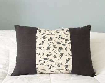 "Leaf Design Pillow - grey throw pillow (18""x12""x5"") nature inspired decor, handmade pillow, grey black pillow, leaf print decor"