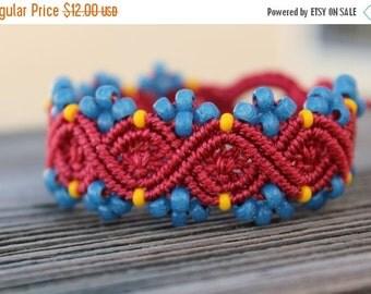 SALE Micro-Macrame Beaded Bracelet - Red, Blue Yellow