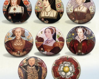 The Tudors King Henry VIII and his Six Wives Set of 8 pins or magnets