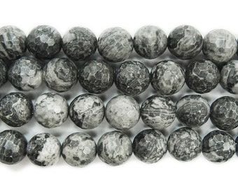 Gray Picture Jasper Faceted Gemstone Beads