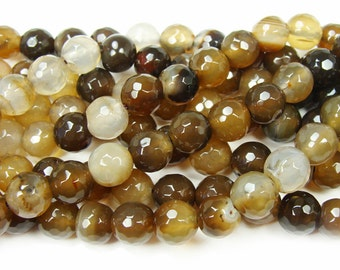 Brown Faceted Agate Gemstone Beads