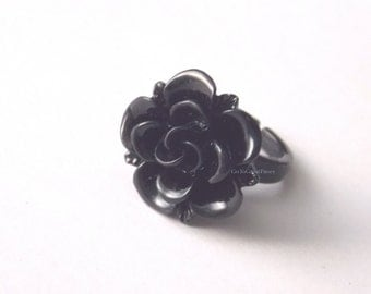 Black Rose Ring, Resin flower on Pinky Ring, floral gift box, petite ring, large flower on small ring base