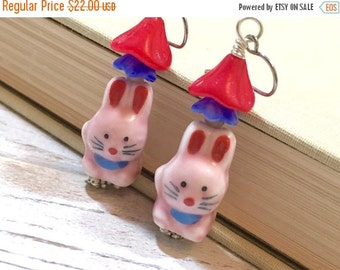 Pink Rabbit Earrings, Porcelain Rabbit Earrings, Czech Glass Flower Earrings, Spring Earrings, Easter Bunny Earrings, Kawaii, KreatedbyKelly