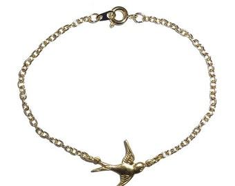 Chase Bracelet- delicate swallow bird charm bracelet
