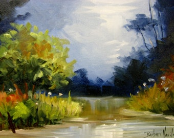 Creek At Dusk  landscape oil painting Barbsgarden Barbara Haviland Texas Landscape Artist