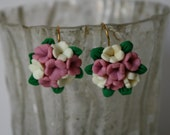 Pink and White Flower Bouquet Earrings polymer clay