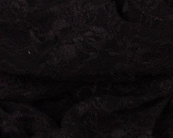 "Dark Brown Stretch Lace Fabric - 45"" Wide - 1 1/2 Yard (PV-954)"