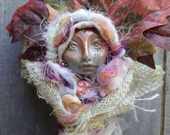 White Birch Spirit,  Art Doll, Ethnic Art, ooak Art Figure, Kitchen Decor, Shabby chic, kitchen witch, bridal shower gift, wedding gift