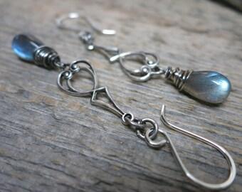 Lorelei earrings ... art nouveau chandeliar / antique silver / blue labradorite / hand forged sterling earwires