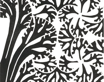"DECO TREES LINOCUT - Black & White Tree Print - Modern Botanical Print 8""x10"" - Ready to Ship"