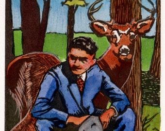 Original Framed Linocut and watercolor Man with Deer Stag Belinda DelPesco