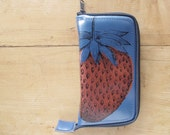 Reserved for Mary Big Ol Strawberry Zip Around Leather Wallet