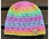 Crochet Baby Beanie- Crochet hat - Wool Hat -  Pastel Rainbow shades -  baby gift, crochet, merino wool, handmade