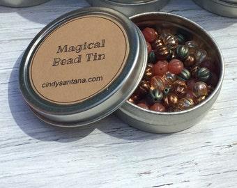Glass beads, tin of beads, Czech glass melon beads in a magical bead tin- 2.5 inch aluminum tin 80 beads.